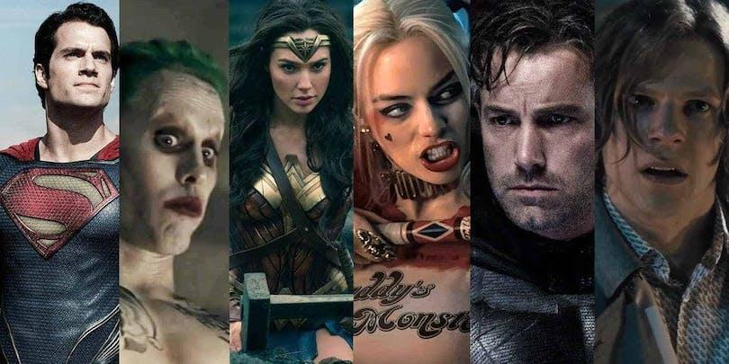 Montage av karaktärer från DCEU, bland annat Batman, Wonder Woman och Harley Quinn.