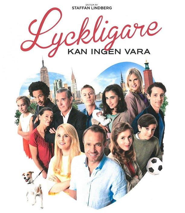 Affisch med skådespelarna i Lyckligare kan ingen vara, inringade av ett hjärta.
