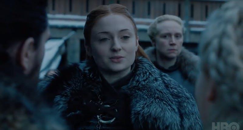Sophie Turner som Sansa Stark och Gwendoline Christie som Brienne