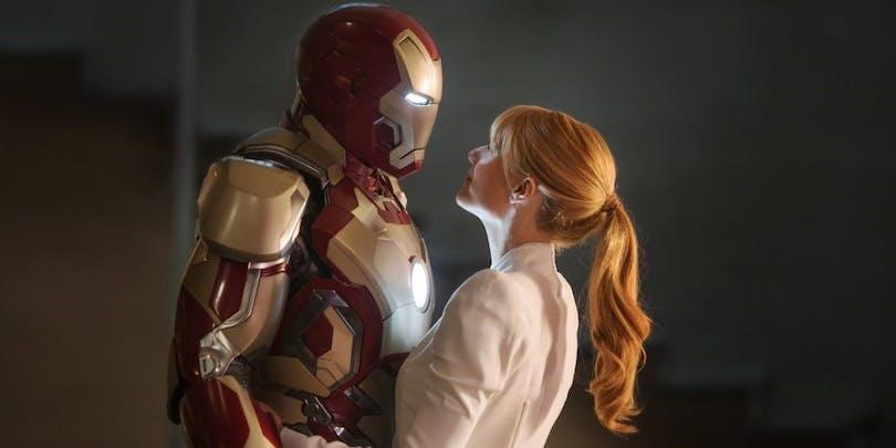 En bild på Iron Man och Pepper Potts