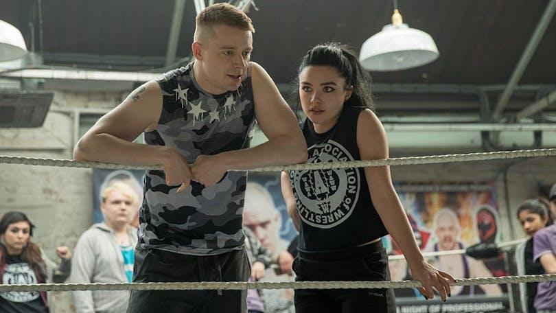 "Syskonen Paige (Florence Pugh) och Zak ""Jack Lowden"" i ""Fighting With My Family""."
