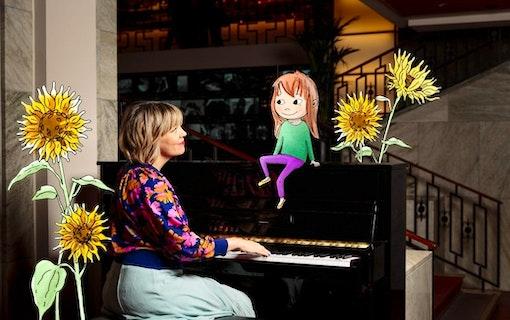 Hör Marit Bergman sjunga ledmotivet till barnserien Sagasagor