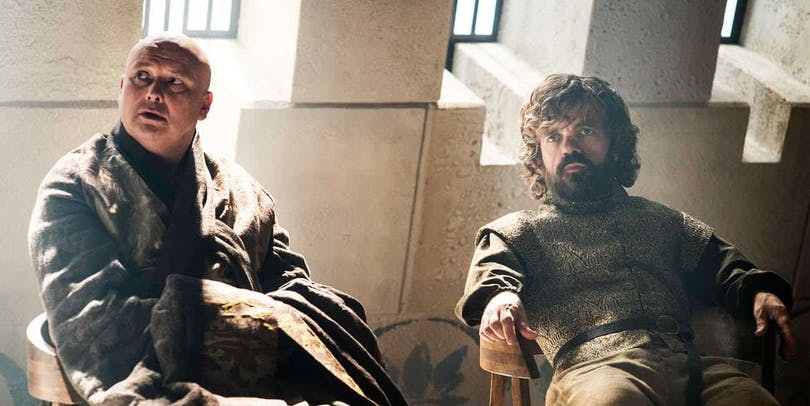Varys och Tyrion i Game of Thrones.