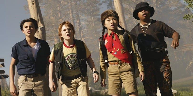 En bild på ungdomsgänget från McGs äventyrsfilm Rim of the World.