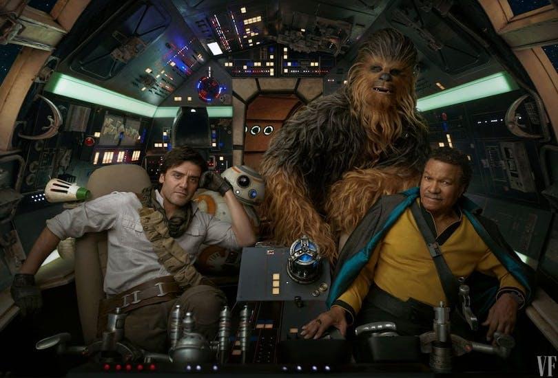 En härlig Star Wras bild från Milleniumfalken. Där vi ser Chewbacca och Lando Calrissian.