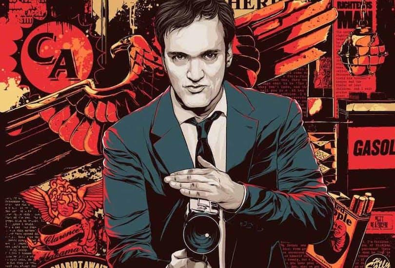 Stiliserad teckning av Quentin Tarantino