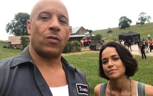 Vin Diesel och Michelle Rodriguez firar första dagen på Fast 9