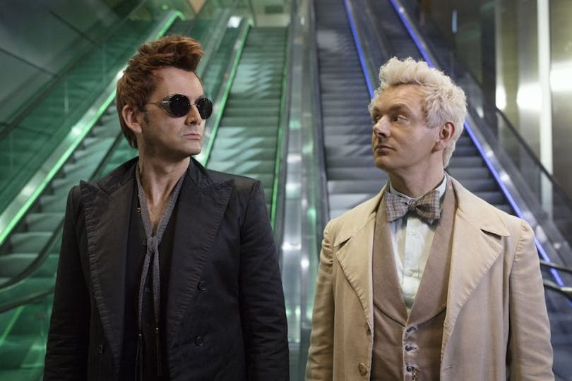 "David Tennant och Michael Sheen i ""Good Omens""."