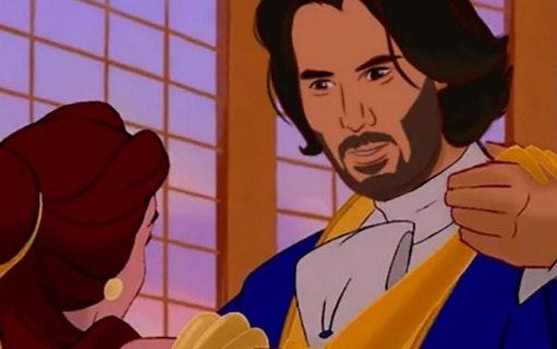 Någon har målat Keanu Reevessom de klassiska Disney-prinsarna