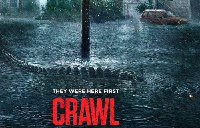 Affisch till Crawl med alligator strax under ytan