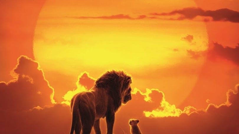 Simba och Mufasa i solnedgången i Lejonkungen.