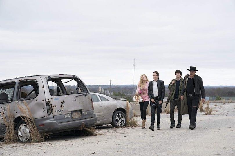 Abigail Breslin, Emma Stone, Jesse Eisenberg och Woody Harrelson i Zombieland: Double Tap