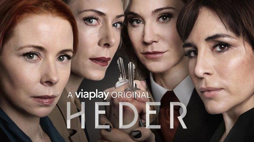 Poster för Viaplay-serien Heder. Där vi bland andra ser Eva Röse.