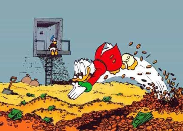 Joakim von Anka badar i sina pengar