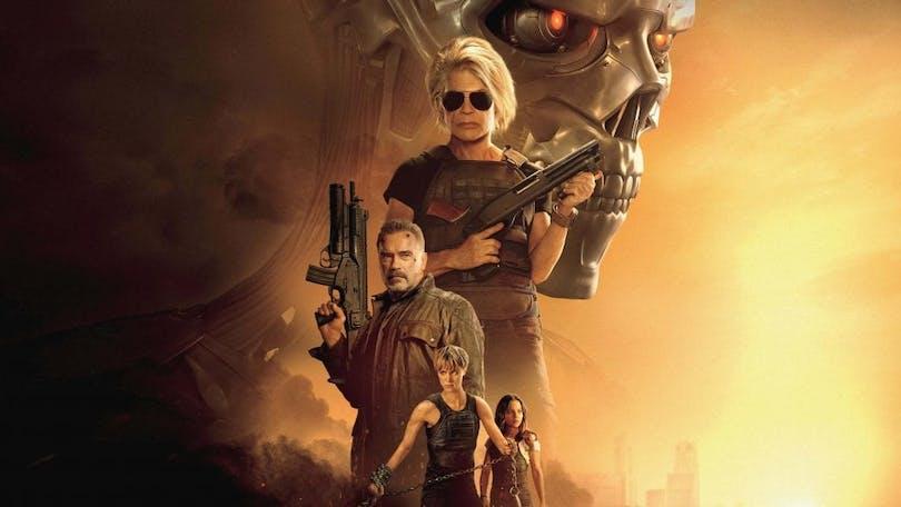 Affisch till Terminator Dark Fate med Linda Hamilton och Arnold Schwarzenegger.