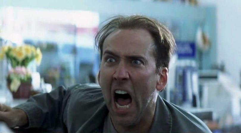 Nicolas Cage skriker i Matchstick Men
