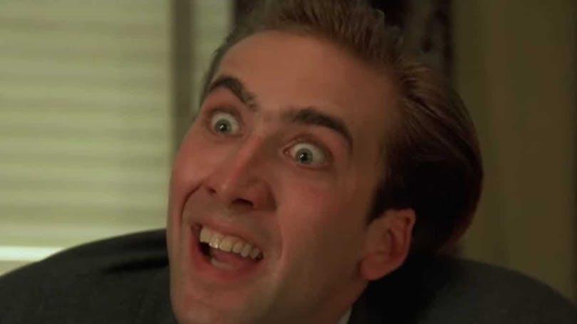 Nicolas Cage gör en extrem min i Vampire's Kiss