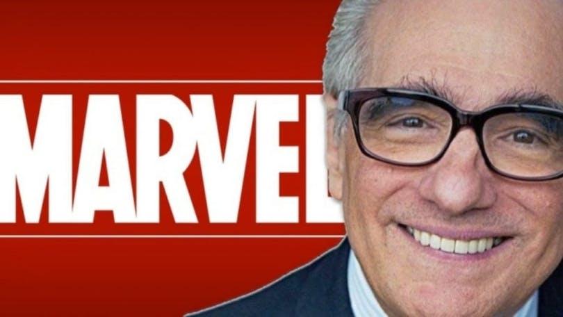Martin Scorsese och Marvel-loggan