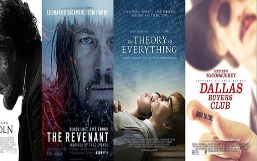 Kollage av affischer till filmen om verkliga människor; Lincoln, The Revenant, The Theory of Everything och Dallas Buyers Club