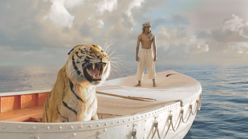 Tigern och pojken i Life of Pi. Foto: 20th Century Fox.