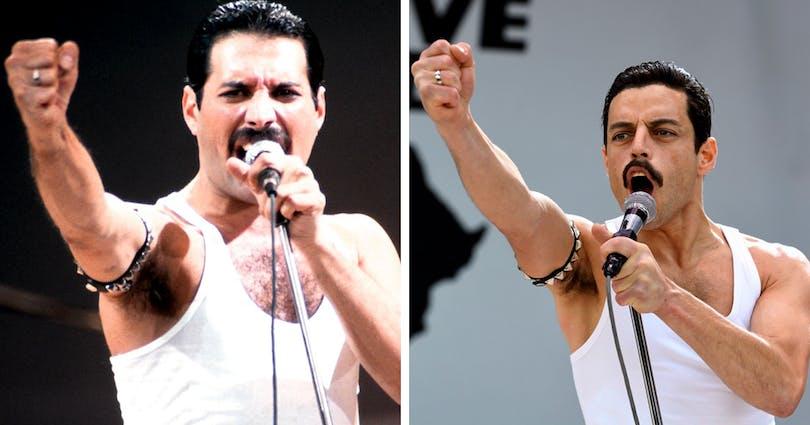 Freddie Mercury och Rami Malek.