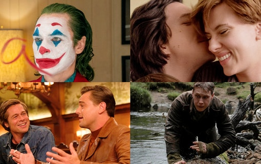 Kollage med bilder från Once Upon a Time.. in Hollywood, Joker, Marriage Story och 1917