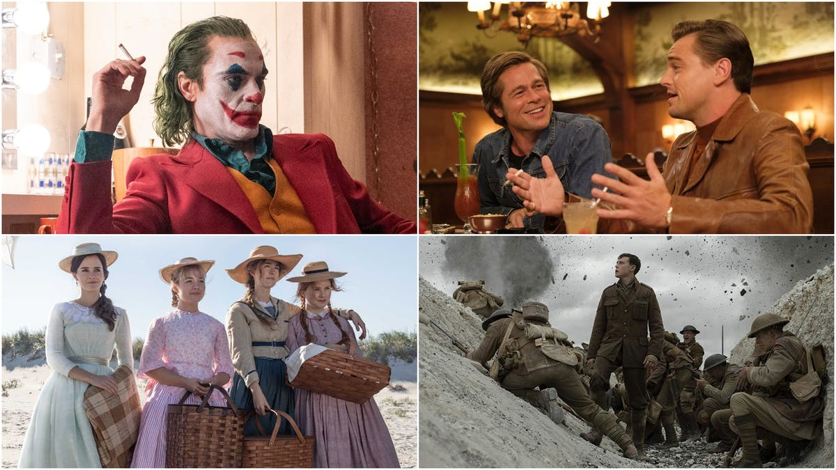 Kollage: Once Upon a Time... in Hollywood, Joker, Unga kvinnor och 1917. Foto: Gamesradar.