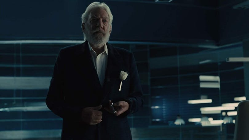 "Donald Sutherland i ""The Hunger Games: Catching Fire"" (2013)."