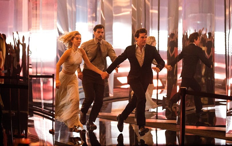 "Vanessa Kirby, Henry Cavill och Tom Cruise i ""Mission: Impossible – Fallout"" (2018)."