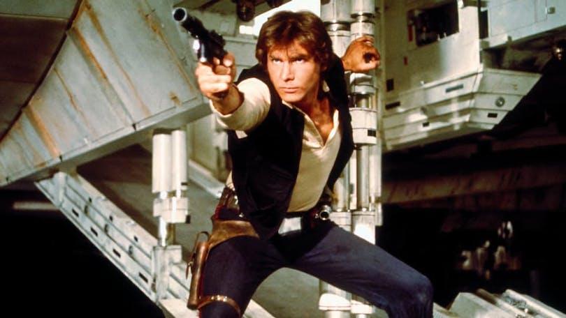 """Harrison Ford som Han Solo i den första Star Wars-filmen """"Stjärnornas krig""""."""