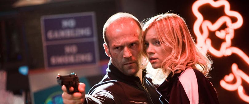 "Jason Statham och Amy Smart i ""Crank: High Voltage"" (2009)."