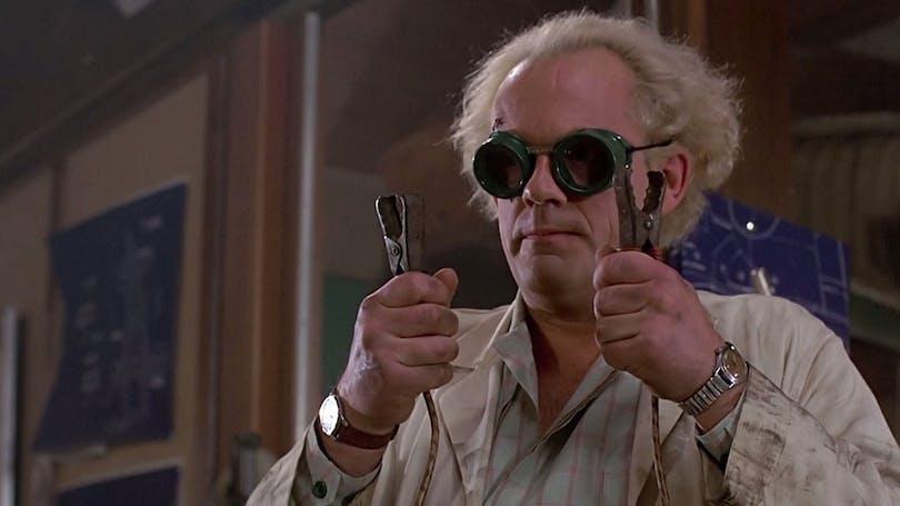 """Doc Brown i """"Tillbaka till framtiden""""."""
