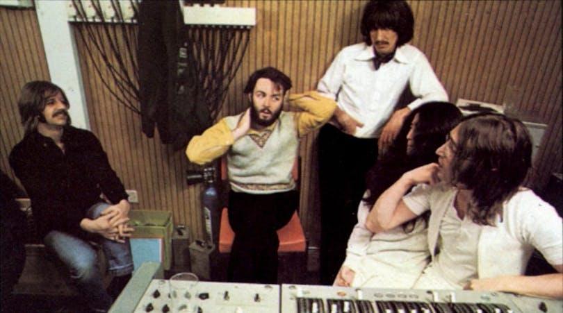 Beatles-medlemmarna i studio.