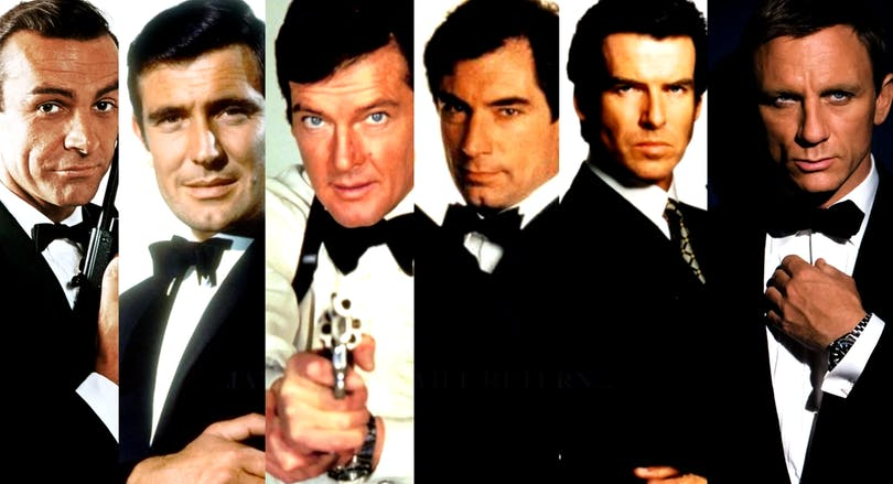 Sean Connery, George Lazenby, Roger Moore, Timothy Dalton, Pierce Brosnan och Daniel Craig har alla spelat James Bond. Foto: United International Pictures.