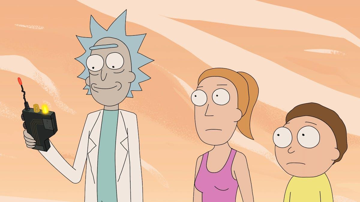 Bild på Rick, Summer och Morty i Adult Swims serien Rick and Morty.