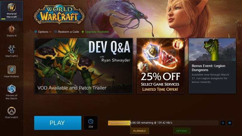 Inbyggd torrentklient i Blizzards game launcher.