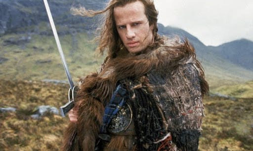 "Christopher Lambert i ""Highlander"" (1986)."