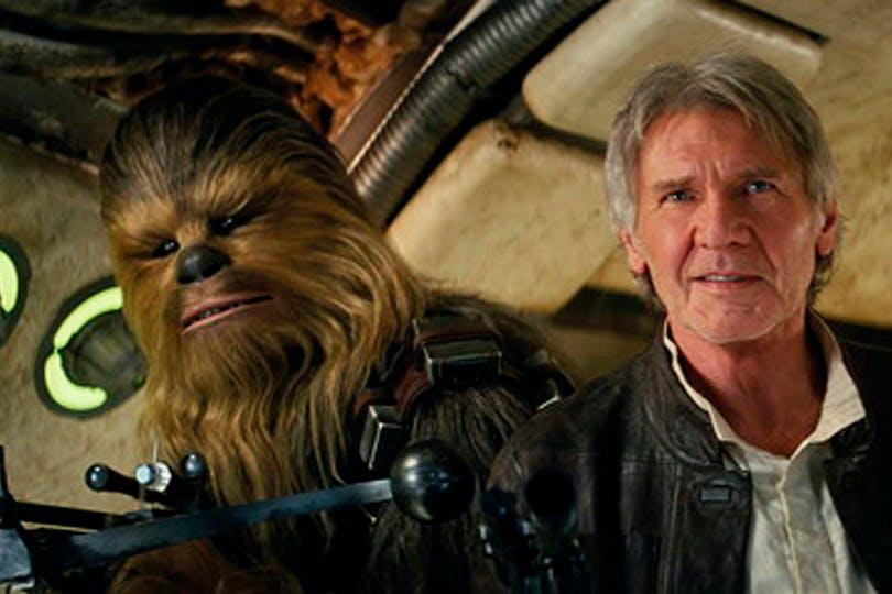 Peter Mayhew med Harrison Ford i Star Wars