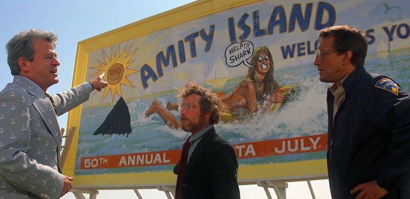 Skylten på Amity Island från Hajen