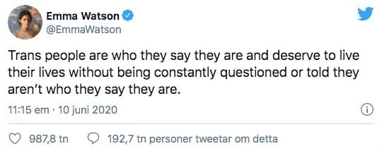 En tweet av Emma Watson