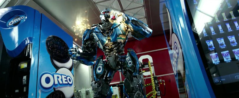 "En Oreo-tranformer i ""Transformers: Extinction"". Blinkar ni, missar ni den. Foto: Paramount Pictures."