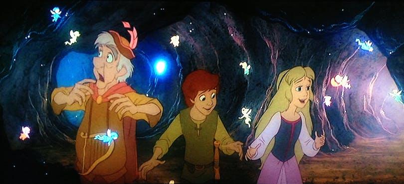 Tre karaktärer på äventyr i Dinsey-klassikern