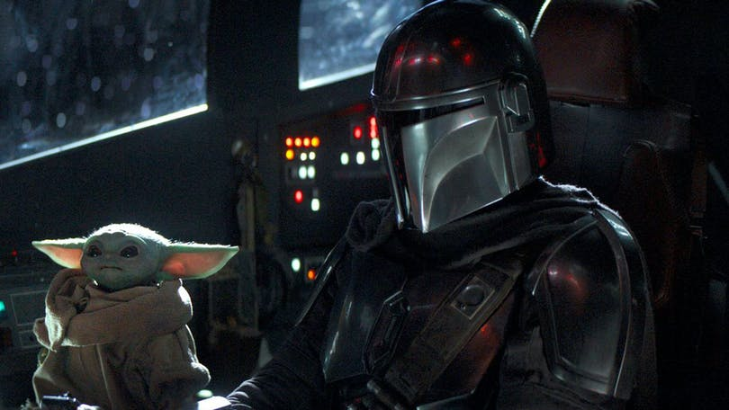 The Mandalorian och The Child i Disney+ Star Wars-serie