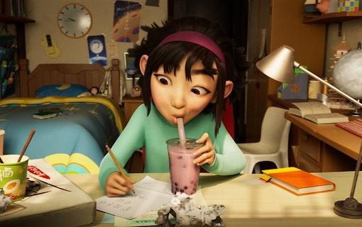 Bild på huvudkaraktären Fei Fei i den animerade Netflix-filmen Till månen och tillbaka.