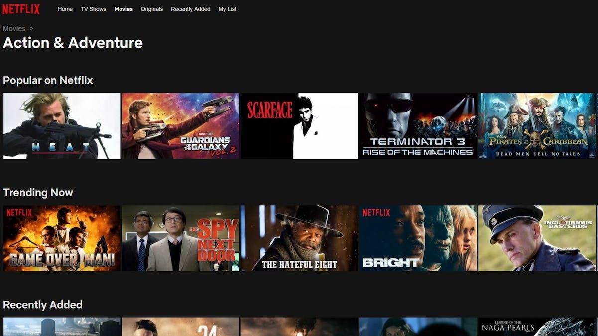Kategorier på Netflix. Foto: Netflix