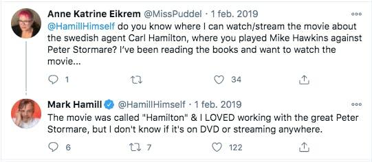 Mark Hamill om Peter Stormare på Twitter
