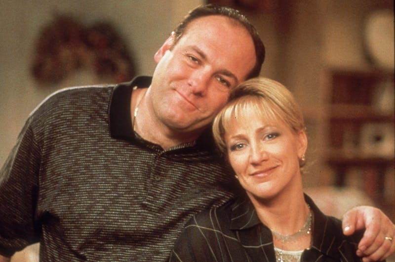 "James Gandolfini och Edie Falco i ""The Sopranos""."