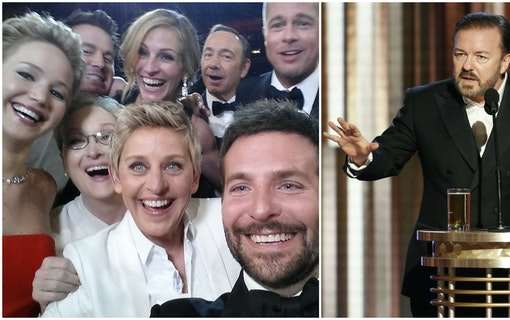 Bild på Ricky Gervais till höger och kändisarna från Ellen DeGeneres mytomspunna bild från oscarsgalan år 2014 till vänster. Bilden är ett montage. Foto: Ellen DeGeneres och Getty Images Entertainment