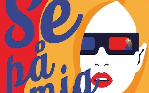Omslaget till boken Se på mig, tecknad kvinna med 3D-glasögon. Foto: Lava Förlag.