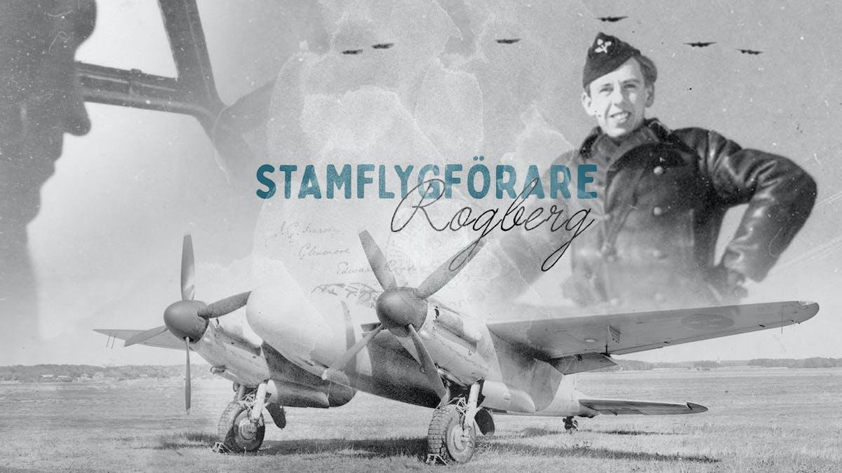 Svartvit bild på piloten Anders Rogberg och ett flygplan. Foto: Lightray productions.